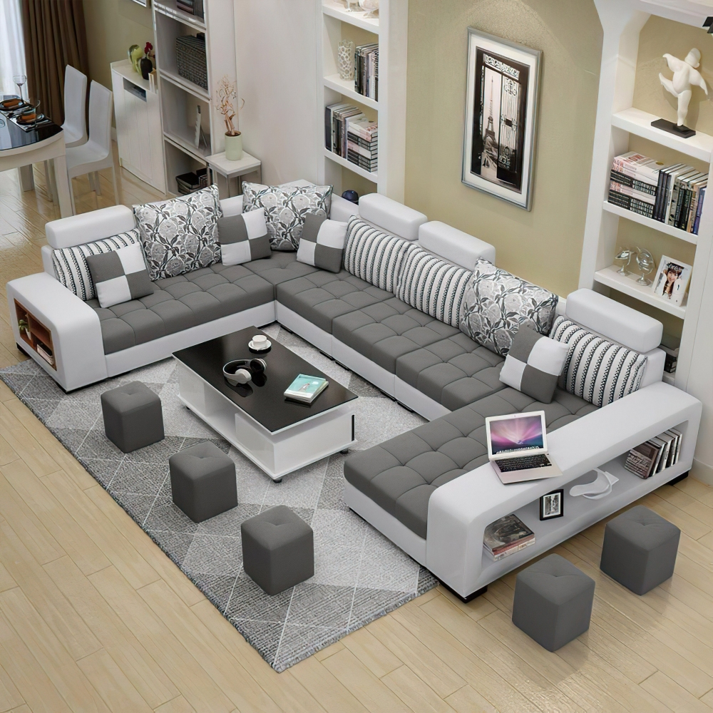 U Shape fabric sofa set