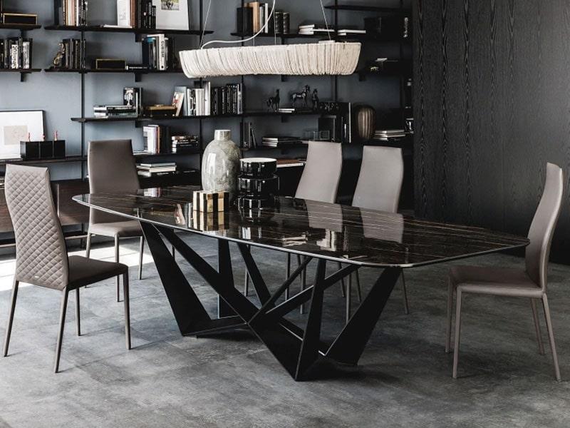 Modern minimalist light luxury rectangular stainless steel creative dinining table