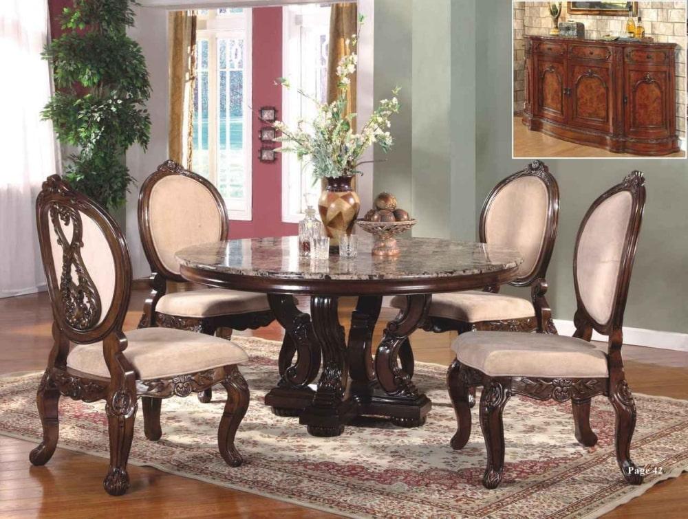 Teak wood luxury round dining table