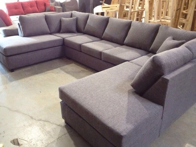 Buy Brown Chenille U Shaped Sectional Sofa Online In Delhi