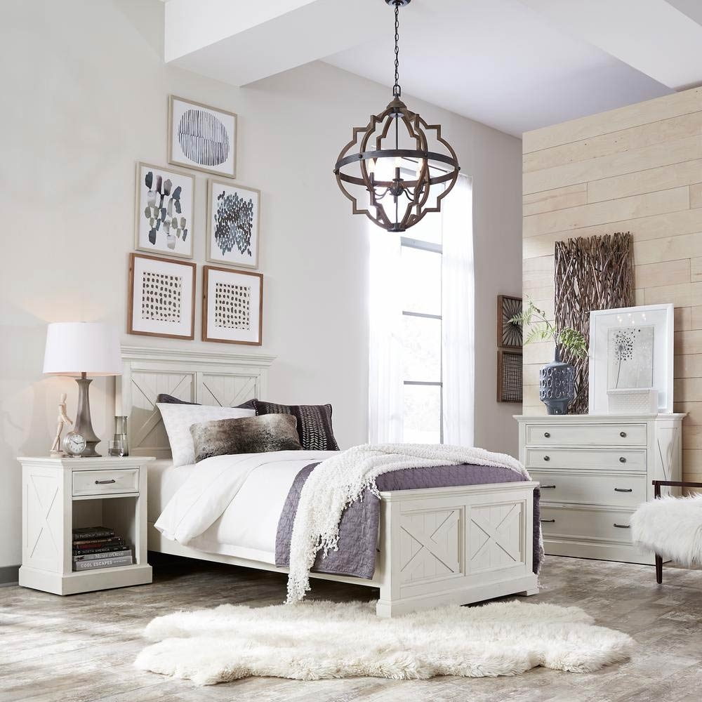Seaside Lodge 5Piece Hand Rubbed White King Bedroom Set