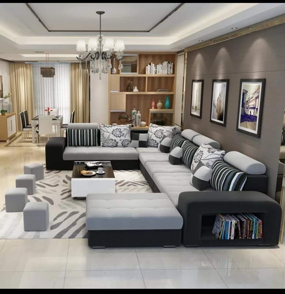 Modern l shape sofa set black and grey