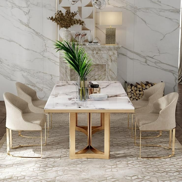 Designer Metal Dining Table with marble top