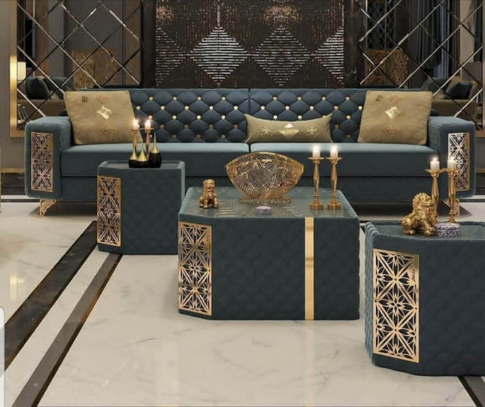 Luxury sofa set with brass finish