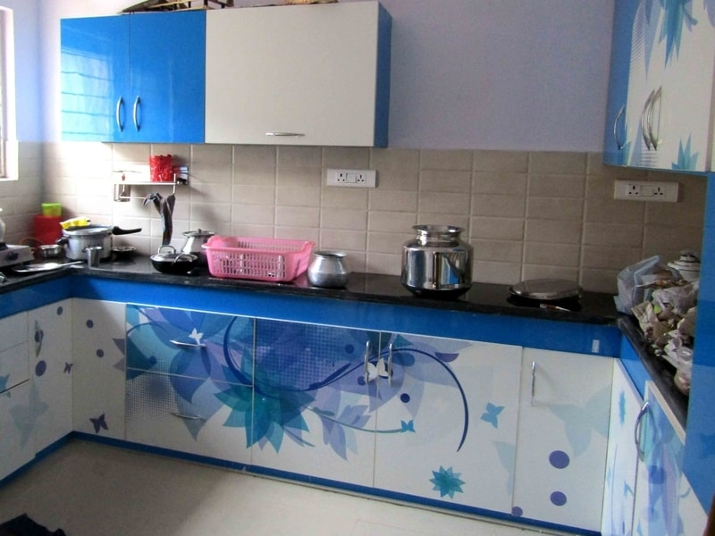 Digital Modular Kitchen-Floral-Blue n White