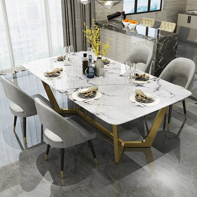 Nordic stainless steel dinette combination simple designer creative light luxury  marble dining table