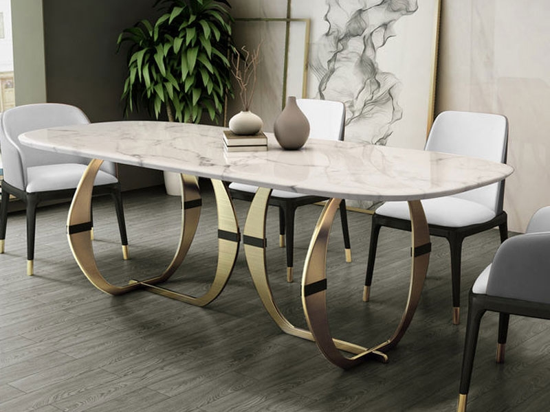 Stainless steel Dining Room Set Home Furniture minimalist modern marble dining table and 6 chairs