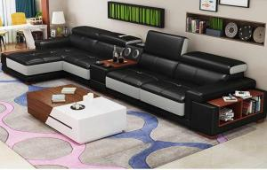 Black Leather Sofa set Manufacturers in Delhi