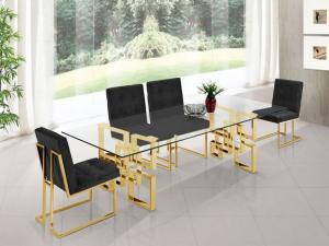 Gold finish luxury metal dining table 6 Seatar