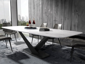 Iron metal Dining Room Set Home Furniture minimalist modern marble dining table