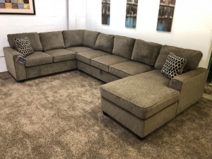 Brown Chenille U-Shaped Sectional Sofa