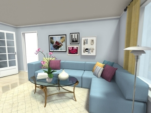 Living Room  Art Wall Blue Sofa