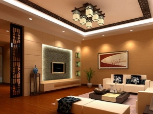 Wooden living room interior design