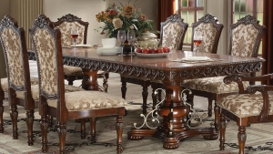 Luxury Cherry Double Pedestal Dining Set