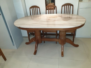 Solid Wood Dining Table With Marble