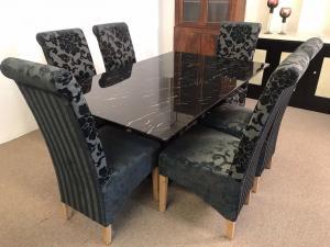 Black marble modern Dining Set