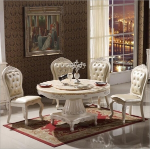 Modern Style Italian Dining Table, 100% Solid Wood Italy Style Luxury round Dining Table set  in Delhi