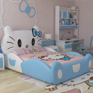New Design Modern Design Hello Kitty Pink Leather Children Bedroom For Girls