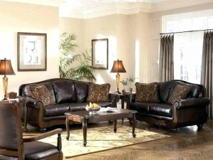 Traditional Leather Sofa Set