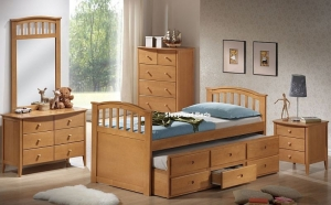 Maple Euro Single Wooden Bed