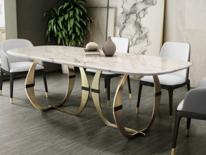 Stainless steel Dining Room Set Home Furniture minimalist modern marble dining table and 6 chairs Manufacturers in Delhi