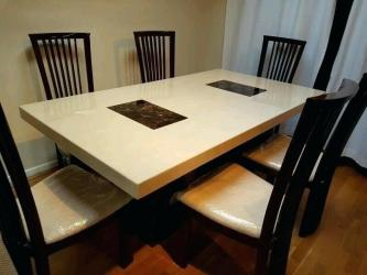 6 Chairs Rare Color Combination High Back Marble Dining Table Manufacturers in Guwahati