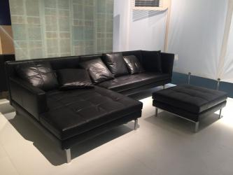 Black Leather L Shaped Sofa Manufacturers in Jaipur