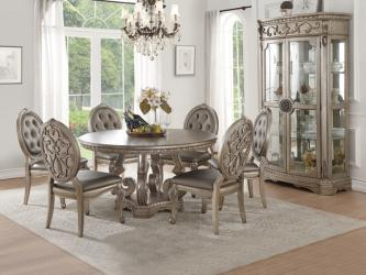 Champagne Finish Wood  Round Dining Table Manufacturers in Varanasi