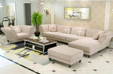 L shape sofa set Latest Modern Design Sofa with premium fabric living room furniture Sofa Manufacturers in Amaravati