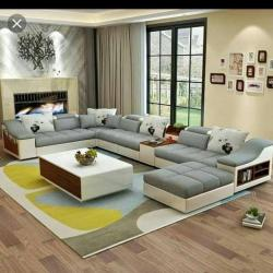L shape sofa set Latest Modern Design Sofa with premium fabric living room furniture for Sofa Manufacturers in Chennai