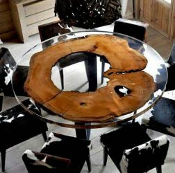 Live Edge Round Epoxy Dining Table Manufacturers in Aligarh