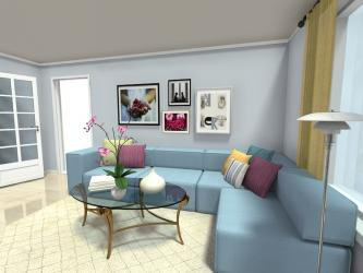 Living Room  Art Wall Blue Sofa Manufacturers in Uttar Pradesh