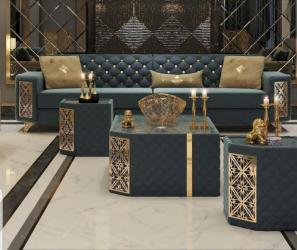 Luxury sofa set with brass finish Manufacturers in Durgapur