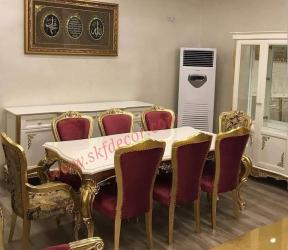 Modern Dining Table with white marble gold finish Manufacturers in Ambala