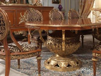 Royal Carved Dining Table oval type design Manufacturers in Ahmedabad