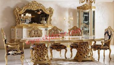 Royal Dining Table 5 Seater with gold finish Manufacturers in Ajmer