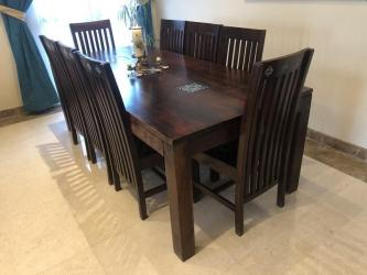 Solid Wood 8 Seater Dining Table Manufacturers in Ahmedabad