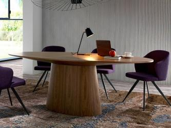Walnut Veneered Wood Oval Dining Table Manufacturers in Jaipur