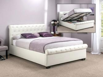 White Leather King Size Bed Manufacturers in Surat