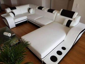 White and black U shape sofa set Manufacturers in Durgapur