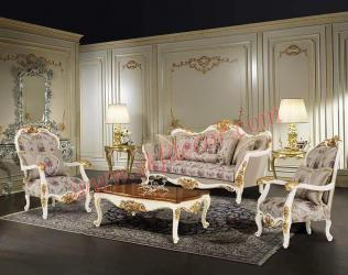 White and gold Royal sofa set Manufacturers in East Delhi